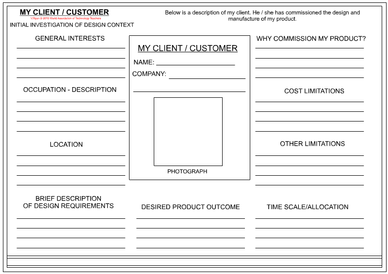 Client customer profile sheet for Information technology company profile template