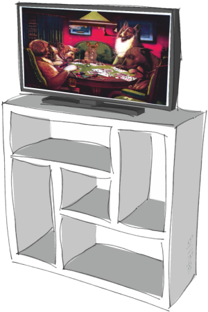 This Is A Basic Storage Unit For Holding Games Equipment. The Top Surface  Is At The Right Height For A Monitor. The Storage Spaces Are Different  Sizes, ...
