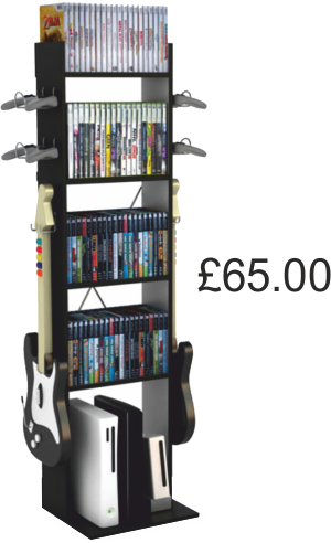 All Your Video Games And Other Games Equipment Can Be Stored In This Unit.  The Four Shelves Will Hold A Large Number Of Games DVDs.