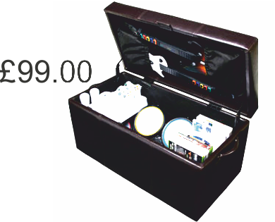 This Ottoman Stores: Guitar Hero, Rock Band Or Wii Fit Accessories. It Is  Also A Seat When The Lid Is Closed. The Ottoman Stores 2 Guitars,  Microphone, ...