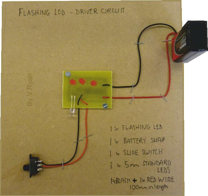 memo board flashing light circuit rh technologystudent com Flashing Lights Circuit Diagram 120V Light Circuit