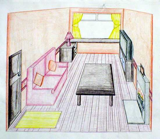 Sample single point perspective using coloured pencil shading