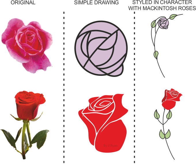 Study The Two Roses Below They Have Been Developed To Form A Simple Mackintosh Rose Suitable For Inclusion On Piece Of Furniture Such As Storage