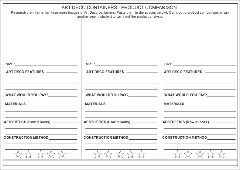 ART DECO CONTAINERS PRODUCT COMPARISON – Art Analysis Worksheet