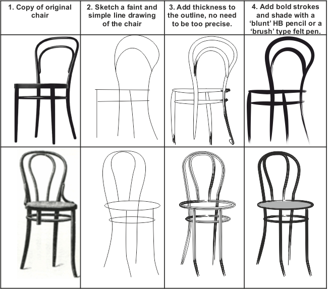 How To Sketch A Simple Bentwood Chair Quickly